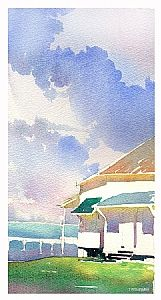 pigeon key 2 by Thomas W Schaller Watercolor ~ 11 inches x 5 inches