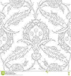 Traditional  Arabic Ornament Seamless For Your Design. Desktop Wallpaper. Background. Iznik. - Download From Over 66 Million High Quality Stock Photos, Images, Vectors. Sign up for FREE today. Image: 75690696