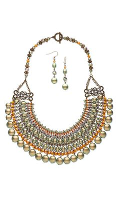 "Jewelry Design - Bib-Style Necklace and Earring Set with Swarovski Crystal and Antiqued Gold-Finished ""Pewter"" Spacers - Fire Mountain Gems and Beads"