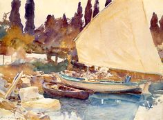 John Singer Sargent (1856- 1925). Boat, 1913. Watercolor and graphite on off-white wove paper. 39.9 x 53.3 cm (15 11/16 x 21 in.)