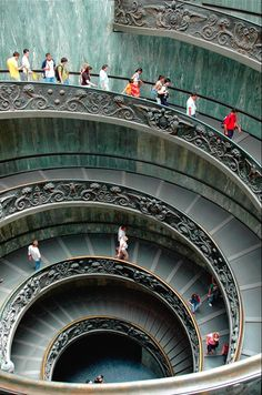 The incredible Vatican stairwell which inspired the one in NY Guggenheim Museum,  Rome,  Italy