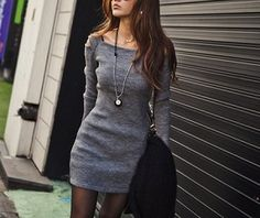 GRAY SQUARE NECK SHOULDER HOLLOW OUT SOLID COLOR LONG SLEEVE SLIMMING RIBBED COTTON DRESS