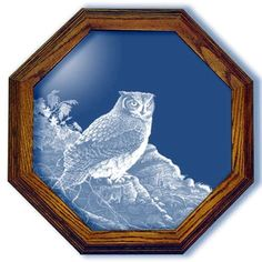 Great Horned Owl Art Etched Medium Octagon Mirror