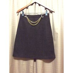 Milly brown skirt Brown wool skirt with acetate lining. Gold chain in front waist. Left waist zipper. Milly Skirts