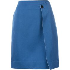 Calvin Klein 205W39nyc wrap skirt (60.310 RUB) ❤ liked on Polyvore featuring skirts, blue, wrap skirt, high-waist skirt, wool knee length skirts, blue knee length skirt and blue high waisted skirt