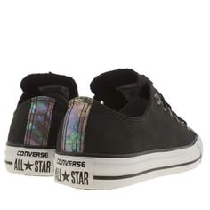 Womens Black & Gold Converse All Star Oil Slick Toe Cap Ox Trainers