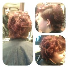 Rollerset and a slicked down side to give a cut effect.