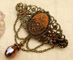 Large Antique Barrette in orange brown bronze Polymer Clay Hair Accessories - pinned by pin4etsy.com