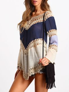 SheIn.com Shop Colour-block Hollow Crochet Loose Top online. SheIn offers Colour-block Hollow Crochet Loose Top & more to fit your fashionable needs.
