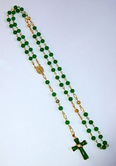 Genuine Green Jade and 18k P Sacred Heart Rosary by IslandGirl77, $39.99