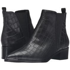 Marc Fisher LTD Yale (Black Croc) Women's Dress Pull-on Boots ($135) ❤ liked on Polyvore featuring shoes, boots, ankle booties, black, mid-calf boots, black pointed toe booties, black ankle booties, black boots, black mid calf boots and crocodile boots