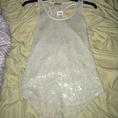 Mint green tank top New with tag, all lace back, sequin front Charlotte Russe Tops Tank Tops