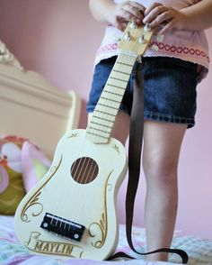 Engraved Guitar Personalized Kids Toy Kids Toy Gift for Kids Elastic Strap Birthday Present Music Instrument kids gift wood (42.15 USD) by ScissorMill