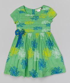 Love this green amp blue floral square neck dress toddler amp girls by