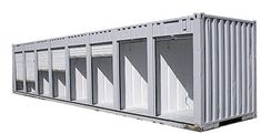 Used shipping container converted and segmented into storage sections with roller blinds Shipping Container Storage, Shipping Container Conversions, Used Shipping Containers, Container Office, Container Shop, Sea Containers, Storage Containers, Stock Box, Prefab Cabins