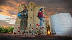 Silo art by Cam Scale. In Devenish, northern Victoria. Nurses - 100 years apart