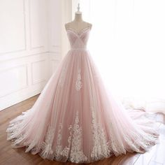 <img> Modern / Fashion Blushing Pink Summer Beach Wedding Dresses 2018 A-Line / Princess Spaghetti Straps Sleeveless Backless Appliques Lace Beading Crystal Sash Ruffle Chapel Train - Wedding Dresses 2018, Quinceanera Dresses, Prom Dresses, Flowy Dresses, Tulle Wedding, Gown Wedding, Beach Dresses, Inexpensive Wedding Dresses, Affordable Bridesmaid Dresses