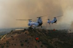 U.S. Marine Boeing Vertol CH-46 Sea Knight helicopters from Camp Pendleton assist the firefighting efforts in and near the Southern California base, May 16, 2014. MAX PENNINGTON/U.S. MARINES