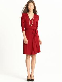 Banana Republic's Gemma Wrap dress.  Have to be careful when sitting in this dress; it shows a LOT of leg and perhaps lady parts if I'm not careful.  Have it in charcoal and am waiting for this red to arrive!
