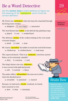 Third Grade Vocabulary Worksheets: Word Detective Worksheet