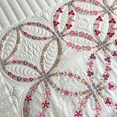 embroidered double wedding quilt.  #Orchidowlquilts