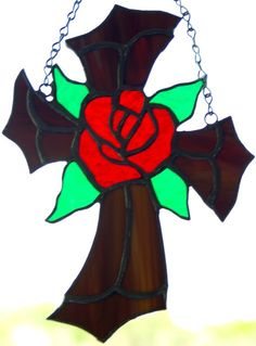 Stained Glass Gothic Cross with Orange Rose by glassnwood on Etsy