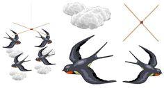 Materiale didactice de 10(zece): Caruselul cu rândunele Bird Crafts, Preschool Crafts, Rooster, Origami, Birds, Mobiles, Blog, Animals, Animaux
