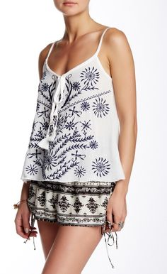 poof strappy embroidered camisole