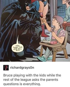 Batman actually likes child, mostly because he himself was a traumatized child and can better relate to them on a psychological and emotional level.S are you gonna tell the Batman no? Dc Animated Series, Jack Kirby, Geeks, Nananana Batman, I Am Batman, Gotham Batman, Batman Robin, Batman And Superman, Marvel Dc Comics