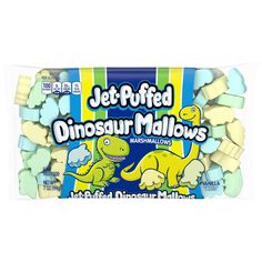 Jet-Puffed Dinosaur Mallows Marshmallows are fun and delicious dinosaur-shaped marshmallows in a sweet vanilla flavor - perfect for snacking or making creative treats to your liking! Dinosaur First Birthday, Dinosaur Party, Third Birthday, Baby Birthday, Dinosaur Snacks, Birthday Ideas, Birthday Pinata, Dinosaur Cake, Dinosaur Crafts