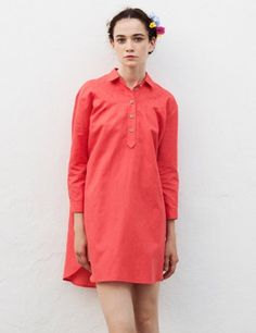 Gecelik #Dress #linen #Medwinds #red #coral #mediterranean