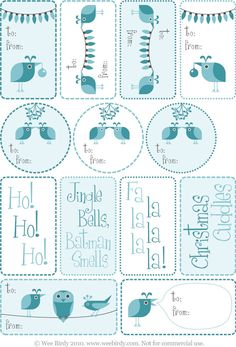 Free! Wee Birdy Christmas gift tags - also available in pink - bjl