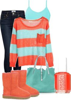 colors only - neon orange sweater over white tank, aqua shorts, matching neon slip ons