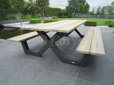 Table Picnic, Outdoor Picnic Tables, Outdoor Chairs, Outdoor Decor, Welded Furniture, Outdoor Garden Furniture, Steel Furniture, Banco Exterior, Dinning Table Design