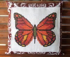 butterfly cross stitch pillow
