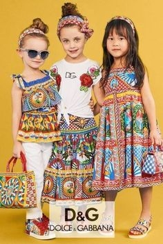 Gorgeous! Dolce Gabbana Girls Carretto Yellow Print Outfits. Designer Sundress, Sleeveless Blouse, Long Skirt. Perfect streetwear Look. Inspired by the D&G Women's Collection. Shop @ Childrensalon (affiliate). #dolcegabbana #carretto #girlsdress #dggirl #childrensalon #dashinfashion Girls Designer Clothes, Designer Dresses For Kids, Girls Special Occasion Dresses, Girls Dresses, Summer Dresses, Blouse And Skirt, Long Blouse, Sleeveless Blouse, Girl Fashion