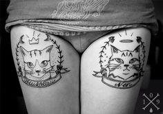 Beautiful Cat Portrait In Frame Tattoo photo - 2