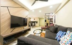 Living area. Contemporary interior design concept for a 4 rm DBSS HDB project. - Samuel,  Unity ID.