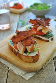 Open-Faced Salmon BLTs- bacon, salmon, greek yogurt, honey, lemon juice, spinach, tomato, baguette, s/p