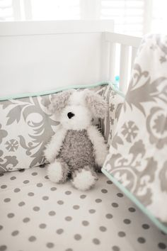 Gray Baby Bedding with turquoise.......pretty!