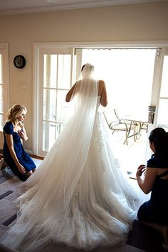 Back of pronovias Alcanar wedding gown and cathedral veil