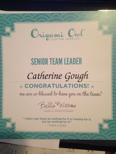 Such a great company!! I am proud to be a part of it!! #origamiowl cathygough.origamiowl.com
