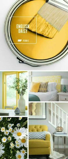 All of the warmth and vibrant colors of summer are captured in one stylish hue with BEHR's Color of the Month: English Daisy. This rich golden yellow works great as a bright accent color when paired w Interior Paint Colors, Paint Colors For Home, Interior Design, Bher Paint Colors, Gold Paint Colors, Bright Paint Colors, Bright Color Schemes, Grey Paint, Color Pop