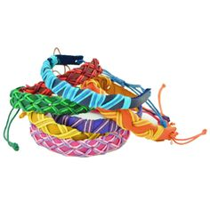 Bring some cool color to your creative style with these sweet braided leather bracelets. Available in a variety of radiant rainbow hues, these narrow leather cuffs look awesome individually or stacked up high for a brilliantly bold Summer look!  $4.00
