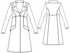 Coat With High Waist  - Sewing Pattern #5319. Made-to-measure sewing pattern from Lekala with free online download.