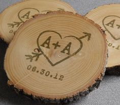 Personalized Rustic Wedding Favors Ash Coasters Hand Stamped and Finished - Set  of 50. $145.00, via Etsy.