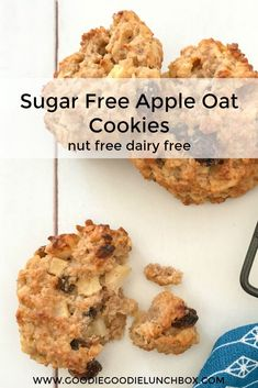These Sugar Free Apple Oat Cookies are sweetened only with fruit. Deliciously wholesome and totally kid approved. The Apple Oat Cookies are nut and dairy free so fantastic for school lunches. They are also fantastic for baby led weaning (from 9 months) as Sugar Free Snacks, Sugar Free Baking, Sugar Free Cookies, Sugar Free Desserts, Sugar Free Recipes, Baby Food Recipes, Gourmet Recipes, Sugar Free Biscuits, Apple Cookies