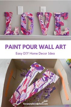 Paint pour letter art idea for Valentine's Day decorating. Learn how to make these painted letters with acrylic paint pouring. Wood Letters Decorated, Painting Wooden Letters, Diy Letters, Painted Letters, Acrylic Paint On Wood, Letter A Crafts, Acrylic Pouring Art, Letter Art, Decorating Wooden Letters