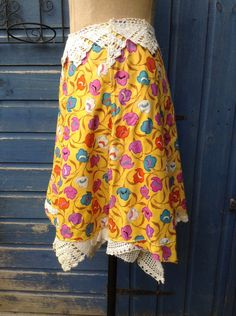 The Sunshine Wrap Skirt Sewing A Button, Florals, Looks Great, Upcycle, Sunshine, Dress Up, Etsy Shop, Denim, Skirts