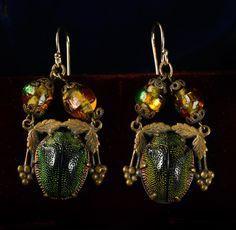 1910s Art Nouveau Scarab and Venetian Foil Bead Earrings, Brass